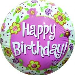 Μπαλόνι Happy Birthday μαργαρίτες 45 εκ.