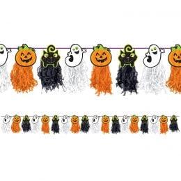 Halloween Γιρλάντα φουντωτή Κολοκύθες-Φαντασματάκια 243cm