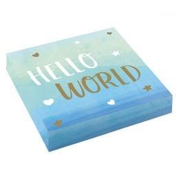 Χαρτοπετσέτες Hello World γαλάζιες (16 τεμ)