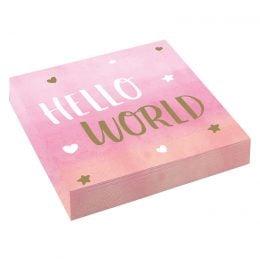 Χαρτοπετσέτες Hello World ροζ (16 τεμ)