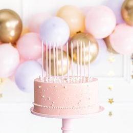 Ψηλά Κεράκια τούρτας Ροζ (12 τεμ)