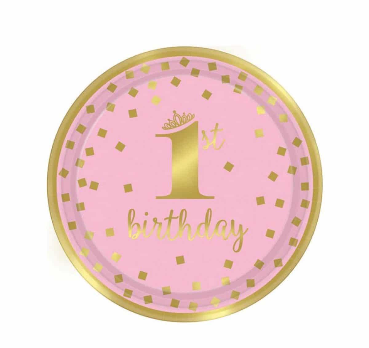 """Πιάτα πάρτυ μικρά""""1st Birthday"""" ροζ & χρυσό (8 τεμ)"""