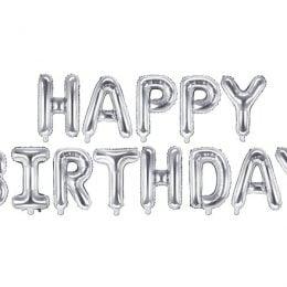 """Σετ μπαλονιών """"Happy Birthday"""" Ασημί"""