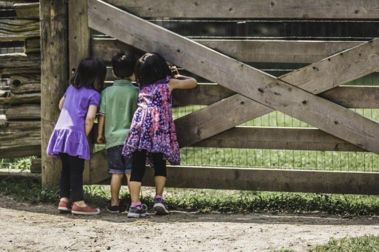 Παιδιά παρακολουθούν εκτόξευση πυροτεχνημάτων