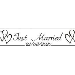 Πινακίδα αυτοκινήτου γάμου Just Married black hearts