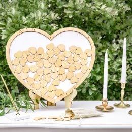 Κάδρο Ευχών ξύλινες καρδιές