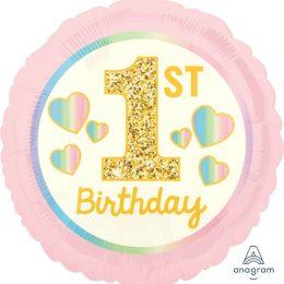 Μπαλόνι 1st Birthday Ροζ & Χρυσό 43 εκ