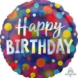 Μπαλόνι Happy Birthday Ιριδίζον 45cm