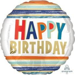 Μπαλόνι Happy Birthday Letters & Stripes 43cm