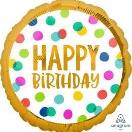 Μπαλόνι Happy Birthday Πουά 43cm