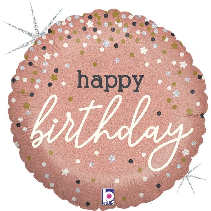 Μπαλόνι Happy Birthday Rosegold 45 εκ.