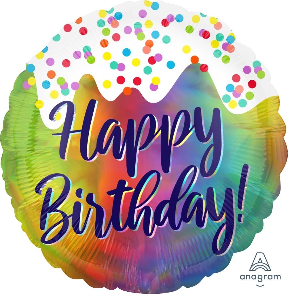 Μπαλόνι Iridescent Birthday 45cm