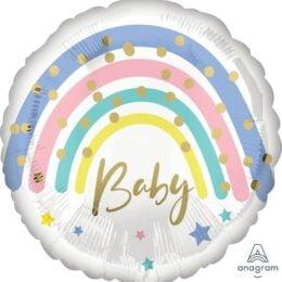 Μπαλόνι Rainbow Baby Παστέλ 43cm
