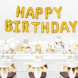 """Σετ μπαλονιών """"Happy Birthday"""" Χρυσό (13 τεμ)"""