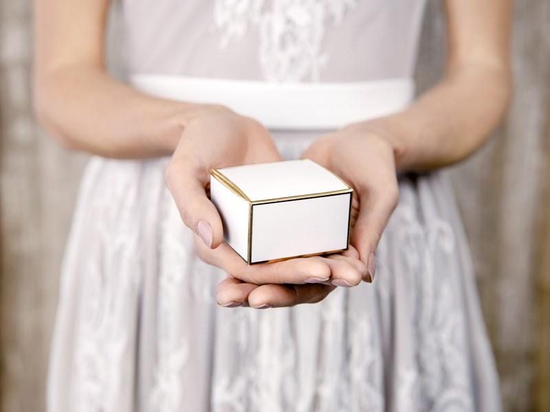Κουτάκια για μπομπονιέρες Λευκό με Χρυσό