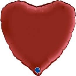 Μπαλόνι Καρδιά Σατέν Βαθύ Κόκκινο 18″