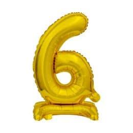 Μπαλόνι Νούμερο 6 Χρυσό με βάση 74cm