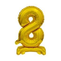 Μπαλόνι Νούμερο 8 Χρυσό με βάση 74cm