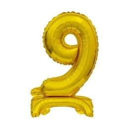 Μπαλόνι Νούμερο 9 Χρυσό με βάση 74cm