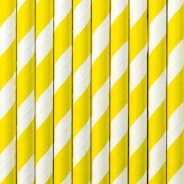 Καλαμάκια Κίτρινα Ριγέ (10 τεμ)