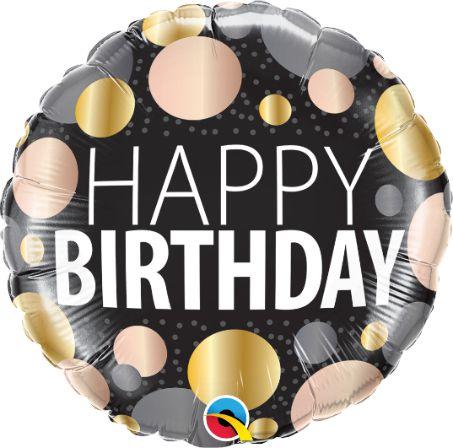Μπαλόνι Happy Birthday Μαύρο με Πουά