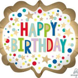 Μπαλόνι Happy Birthday Satin Marquee Dots