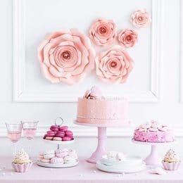 Ροζ Διακοσμητικά Χάρτινα Λουλούδια Τοίχου (5 τεμ)