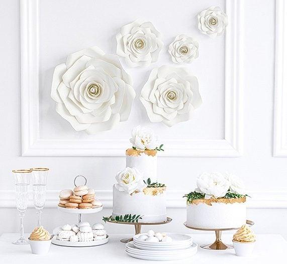 Κρεμ Διακοσμητικά Χάρτινα Λουλούδια Τοίχου (5 τεμ)
