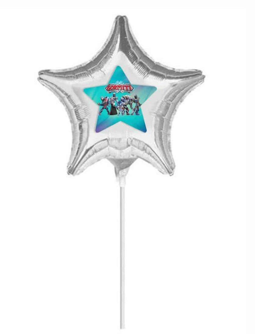 """Μπαλόνι Ασημί Αστεράκι με αυτοκόλλητο Gormiti 10"""""""