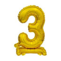 Μπαλόνι Νούμερο 3 Χρυσό με βάση 74cm