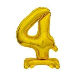 Μπαλόνι Νούμερο 4 Χρυσό με βάση 74cm