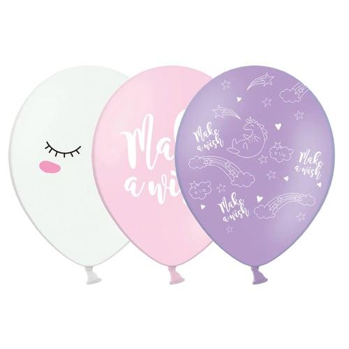"""12"""" Μπαλόνι τυπωμένο Μονόκερος Make a Wish (3 σχέδια)"""