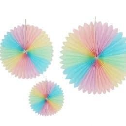 Χάρτινες Πολύχρωμες Βεντάλιες (3 τεμ)