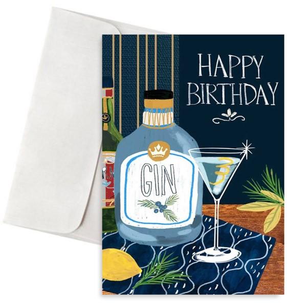 κάρτα γενεθλίων gin bottle