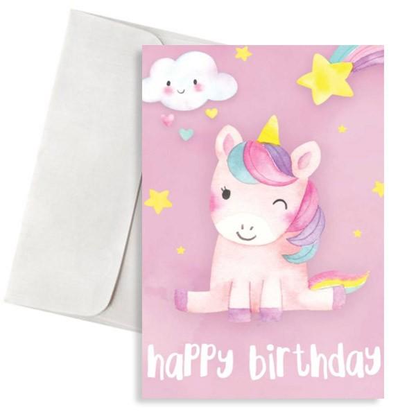 κάρτα γενεθλίων ροζ μονόκερος