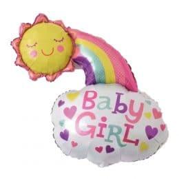 Μπαλόνι baby girl ήλιος και συννεφάκι