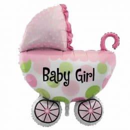 Μπαλόνι baby girl καροτσάκι ροζ