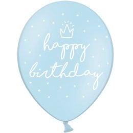 12″ Μπαλόνι Happy Birthday γαλάζιο (6 τεμ)