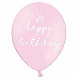 12″ Μπαλόνι Happy Birthday ροζ (6 τεμ)