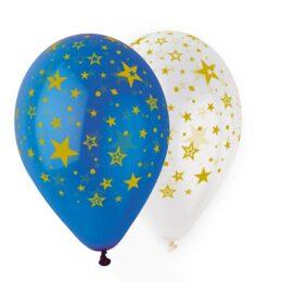 Μπαλόνι με Αστέρια Μπλε & Διάφανο