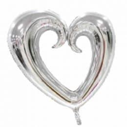 """μπαλόνι με τρύπα ασημί καρδιά 30"""""""