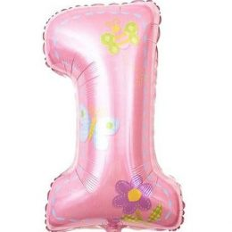 Μπαλόνι ροζ αριθμός 1 πεταλούδες