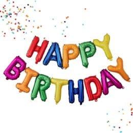 μπαλόνια happy birthday rainbow 13 τεμ