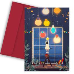 Χριστουγεννιάτικη Κάρτα Girl Decorating
