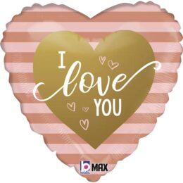 Μπαλόνι Καρδιά I Love You Rosegold Ρίγες