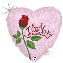 Μπαλόνι Καρδιά I Love You Τριαντάφυλλο