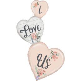 """Μπαλόνι τριπλή Καρδιά """"I Love Us"""" 127 εκ."""