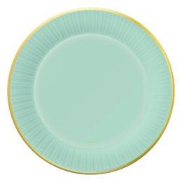 Πιάτα φαγητού πράσινο Μέντας με χρυσό (6 τεμ)