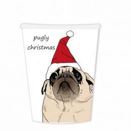 """Χριστουγεννιάτικα Ποτήρια """"Pugly Christmas"""" (6 τεμ)"""