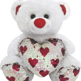 Αρκουδάκι Λευκό με Καρδιά & Πούλιες 35εκ